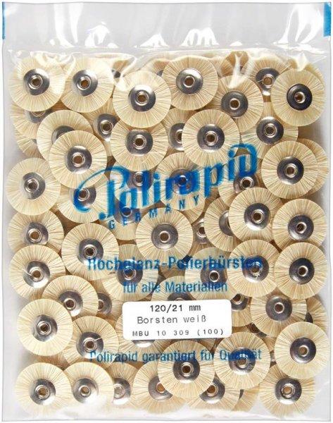 Miniaturbürste - Packung 100 Bürsten, Borste weiß, Ø 21 mm, unmontiert von Polirapid