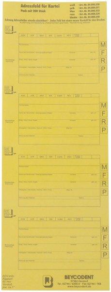 Adressfeldstreifen - Packung 200 Streifen gelb von Beycodent