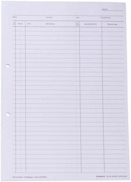 Krankenblatt B - Block 100 Blatt weiß, A4, seitlichgelocht von Spitta Verlag