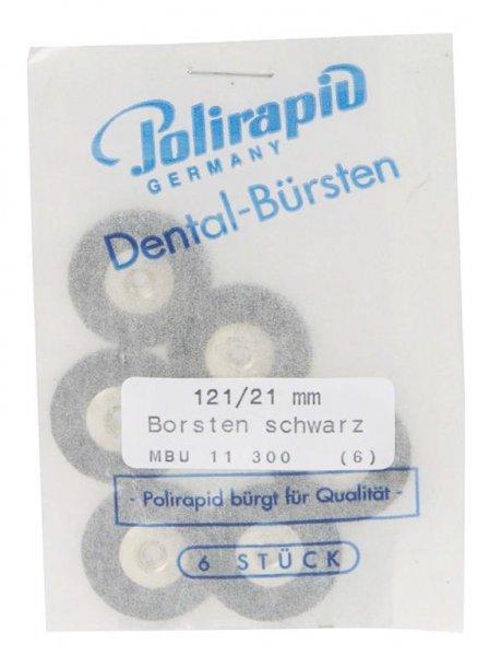 Miniaturbürste - Packung 6 Bürsten, Borste schwarz, Ø 21 mm, unmontiert von Polirapid