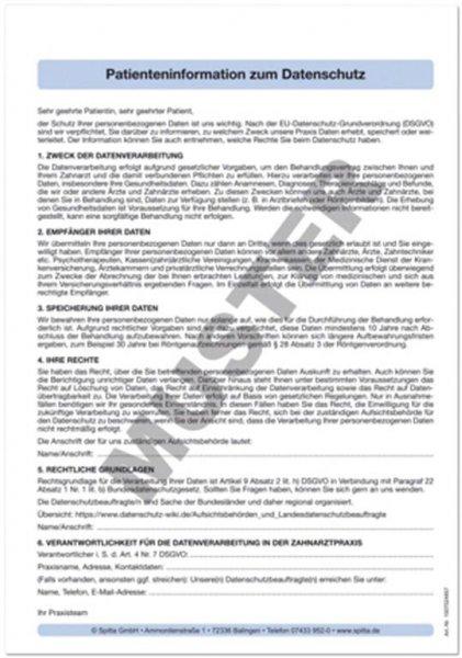 Patienteninformation zum Datenschutz - Block 100 Blätter von Spitta Verlag