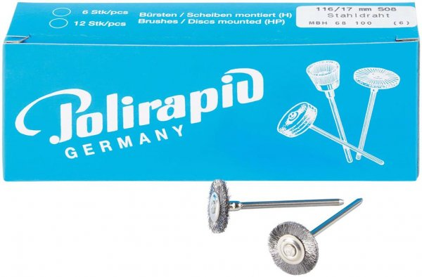Miniaturbürste - Packung 6 Bürsten, Stahldraht 0,08 mm, Ø 17 mm von Polirapid