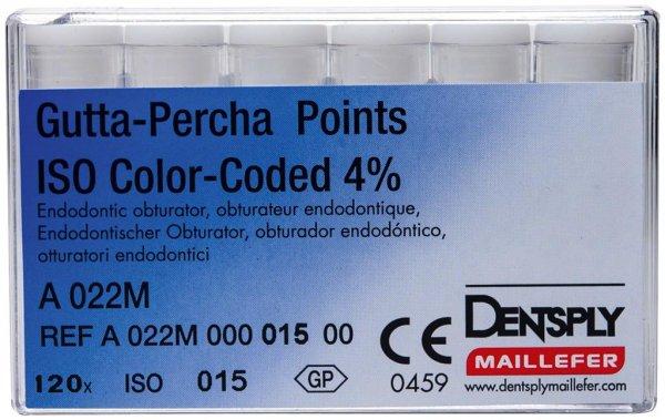 Gutta-Percha Spitzen - Packung 120 Stück Taper.04 ISO 015 von Dentsply Sirona