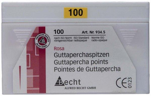 Guttaperchaspitzen rosa - Packung 100 Stück ISO 100 von Becht