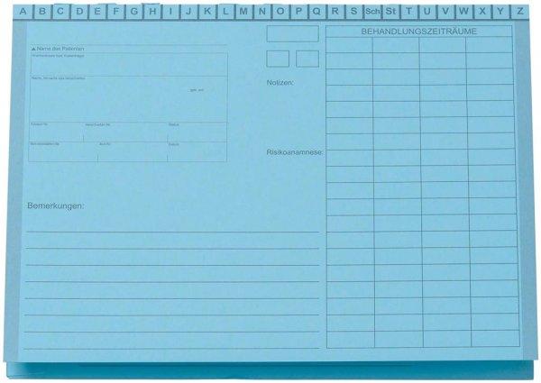 Karteimappe A5/D70 - Packung 100 Mappen blau ohne Heftzunge von Beycodent