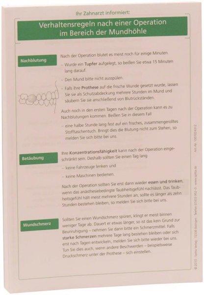 Patientenmerkblatt OP in der Mundhöhle - Block 100 Blatt von Spitta Verlag