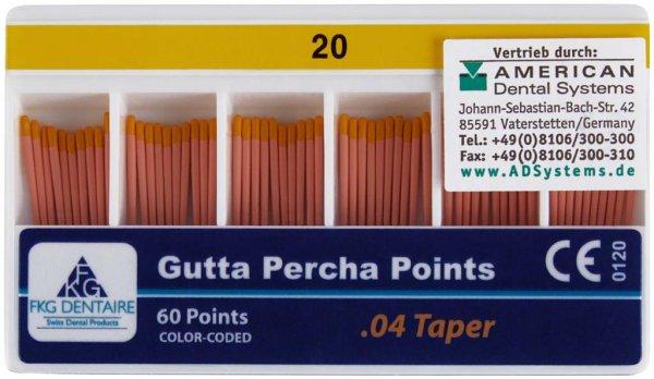 FKG Gutta Percha - Packung 60 Stück Taper.04 ISO 020 von American Dental