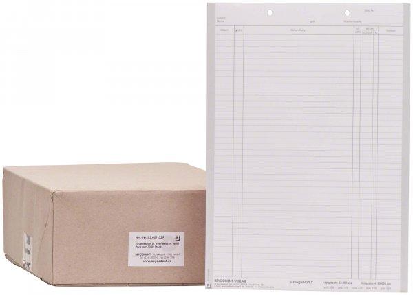 Einlegeblatt - Packung 1.000 Blatt weiß D, kopfgelocht von Beycodent