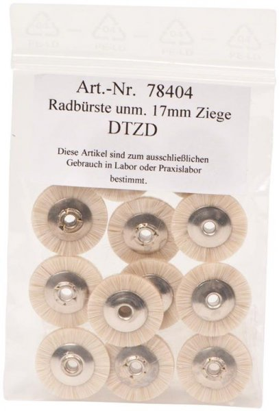 Radbürste Handstück - Packung 12 Bürsten unmontiert Ziegenhaar 17 mm von OMNIDENT