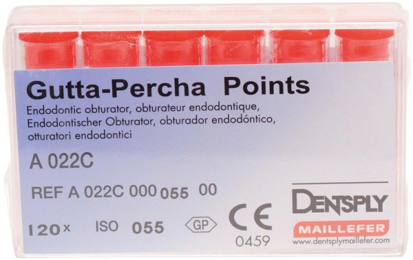 Guttapercha-Spitzen rosa - Packung 120 Stück rosa, Taper.02 ISO 055 von Dentsply Sirona