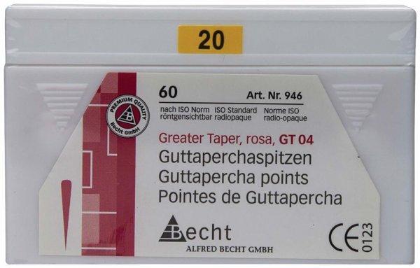 Guttaperchaspitzen Greater Taper - Packung 60 Stück Taper.04, ISO 020 von Becht