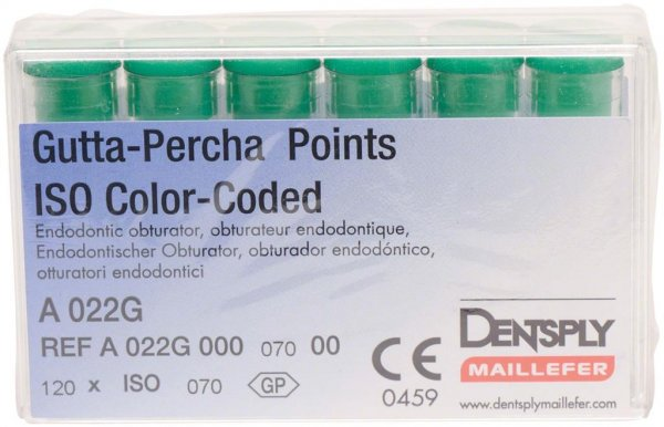 Gutta-Percha Spitzen - Packung 120 Stück Taper.02 ISO 070 von Dentsply Sirona