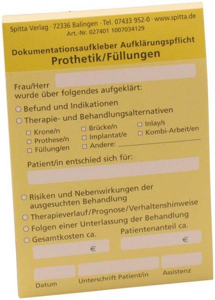 Dokumentationsaufkleber - Block 50 Aufkleber Prothetik, gelb von Spitta Verlag