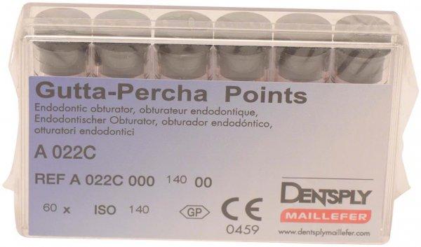Guttapercha-Spitzen rosa - Packung 60 Stück rosa, Taper.02 ISO 140 von Dentsply Sirona