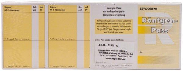 Röntgen-Pass - Packung 100 Pässe 60 x 90 mm von Beycodent