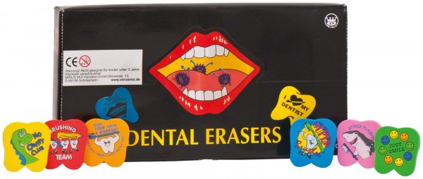 Radiergummi - Packung 72 Radiergummis Coole Zähne von MirusMix