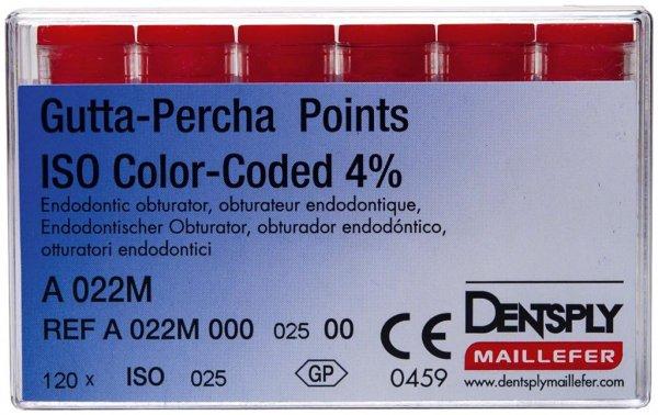 Gutta-Percha Spitzen - Packung 120 Stück Taper.04 ISO 025 von Dentsply Sirona