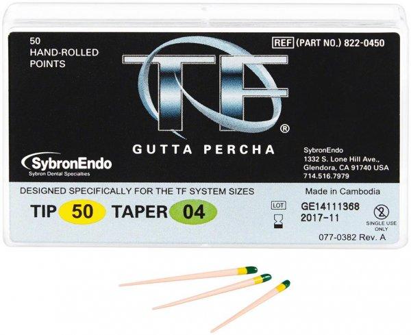 TF™ Gutta Percha Spitzen - Packung 50 Stück Taper.04 ISO 050 von SybronEndo