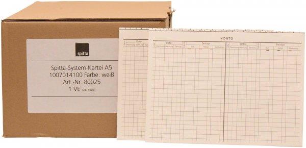 System Karteikarten A5 - Packung 200 Karten weiß von Spitta Verlag