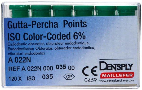 Gutta-Percha Spitzen - Packung 120 Stück Taper.06 ISO 035 von Dentsply Sirona