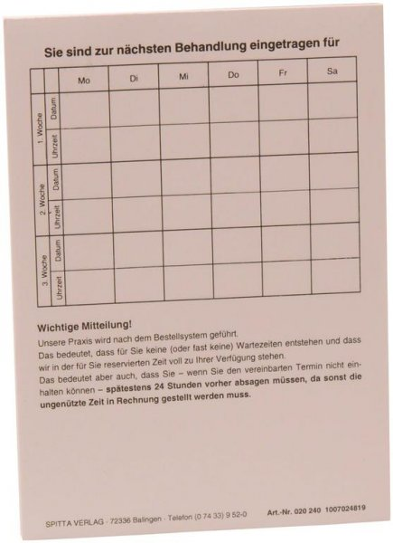 """Terminzettel """"Nächste Behandlung"""" - Block 100 Blatt von Spitta Verlag"""