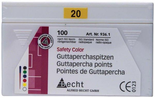 Guttaperchaspitzen Safety Color - Packung 100 Stück ISO 020 von Becht