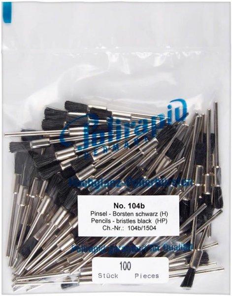 Pinselbürsten - Packung 100 Bürsten mit Handstück, Borste schwarz von Polirapid
