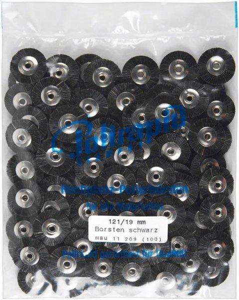 Miniaturbürste - Packung 100 Bürsten, Borste schwarz, Ø 19 mm, unmontiert von Polirapid