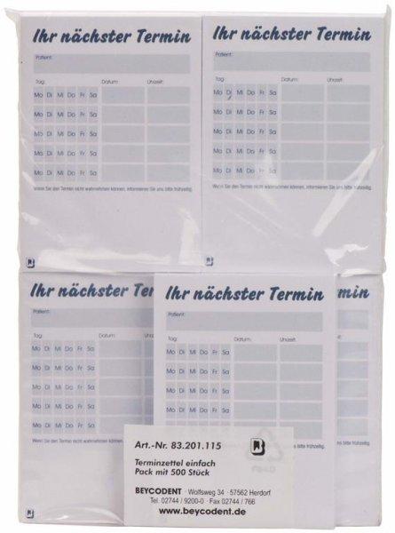 Patienten-Terminzettel - Packung 5 x 100 Blatt von Beycodent