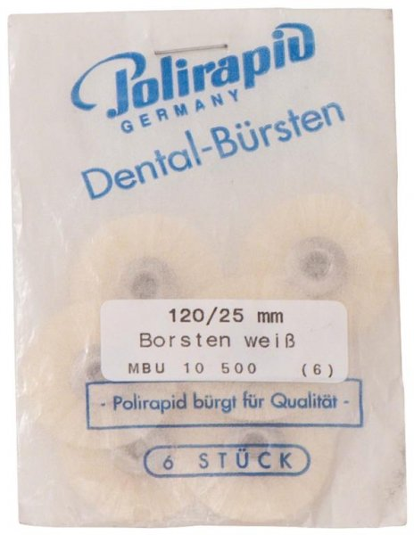 Miniaturbürste - Packung 6 Bürsten, Borste weiß, Ø 25 mm, unmontiert von Polirapid