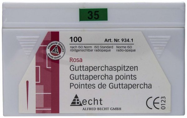 Guttaperchaspitzen rosa - Packung 100 Stück ISO 035 von Becht