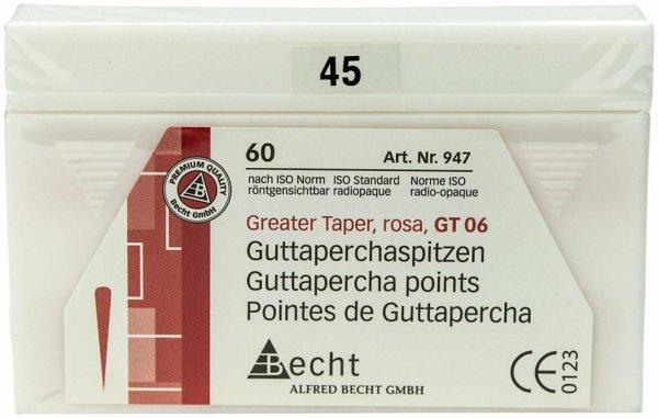 Guttaperchaspitzen Greater Taper - Packung 60 Stück Taper.06, ISO 045 von Becht