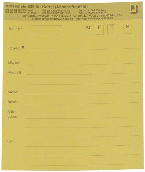 Adressfeld 630 - Packung 200 Blatt gelb von Beycodent