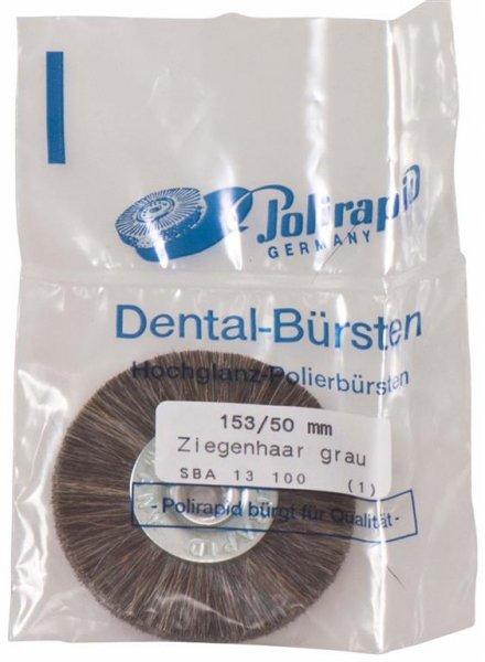 Schmalbürste - Stück Bürste mit Aluzentrum, Ziegenhaar grau, Ø 50 mm von Polirapid