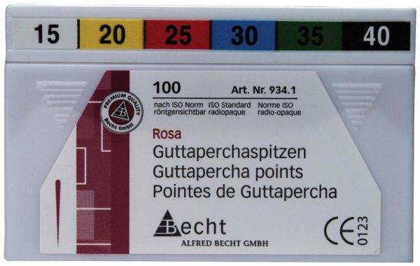 Guttaperchaspitzen rosa - Sortiment 100 Stück ISO 015-040 von Becht