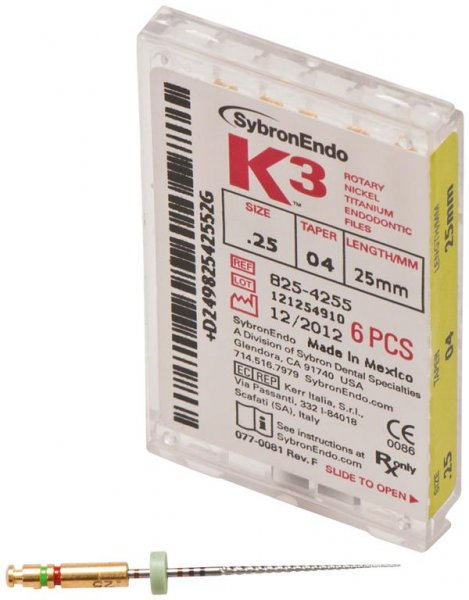 K3 NiTi-Feilen - Packung 6 Feilen ISO 025, Taper.04, 25 mm von SybronEndo