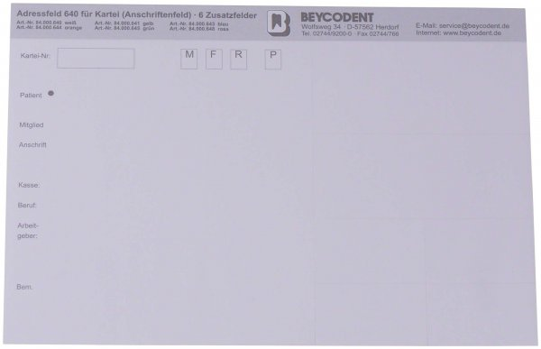 Adressfeld 640 - Packung 100 Blatt weiß von Beycodent