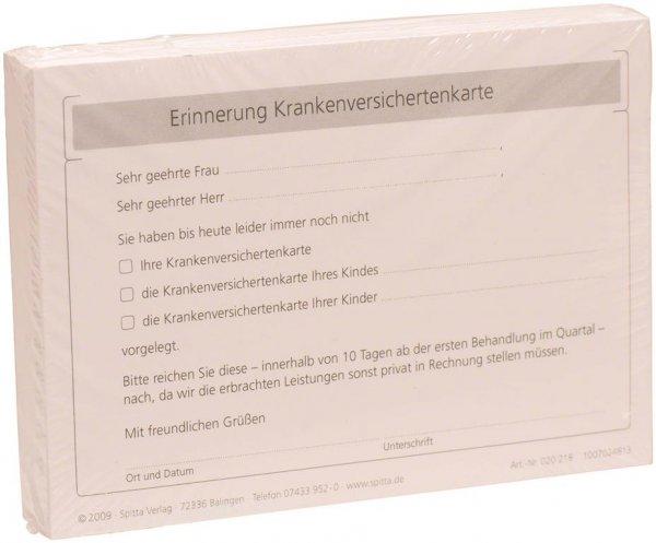 Formulare - Block 100 Blatt Erinnerung Krankenversichtenkarte weiß, A6 von Spitta Verlag