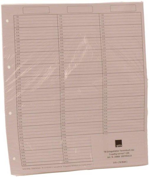 Einlageblätter 3-spaltig durchgehend - Packung 50 Blatt von Spitta Verlag