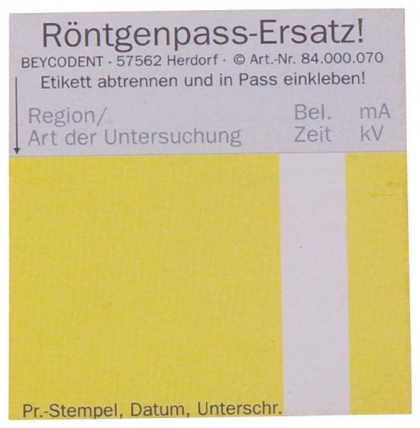 Röntgen-Pass Ersatzetikett - Block 100 Etiketten von Beycodent