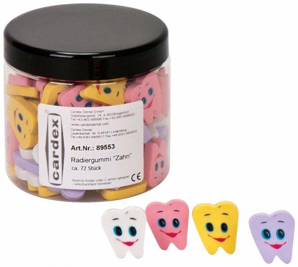 """Radiergummi """"Zahn"""" - Dose 72 Radiergummis in 4 unterschiedlichen Farben von Cardex Denta"""
