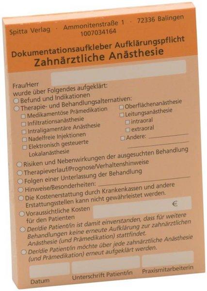 Dokumentationsaufkleber - Block 50 Aufkleber Anästhesie, orange von Spitta Verlag