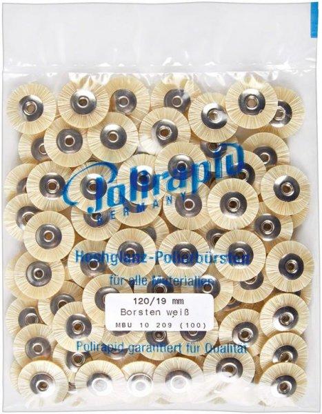Miniaturbürste - Packung 100 Bürsten, Borste weiß, Ø 19 mm, unmontiert von Polirapid