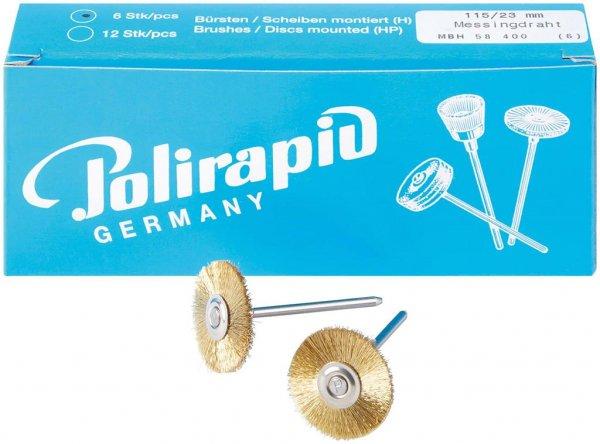 Miniaturbürste - Packung 6 Bürsten, Messingdraht, Ø 23 mm von Polirapid