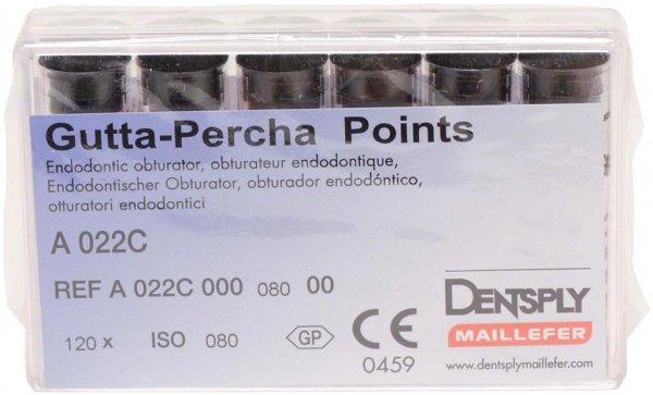 Guttapercha-Spitzen rosa - Packung 120 Stück rosa, Taper.02 ISO 080 von Dentsply Sirona