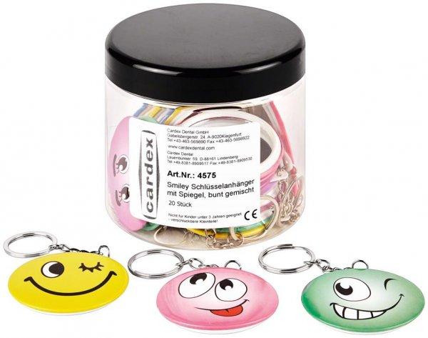 Smiley Schlüsselanhänger - Packung 20 Stück bunt gemischt von Cardex Dental