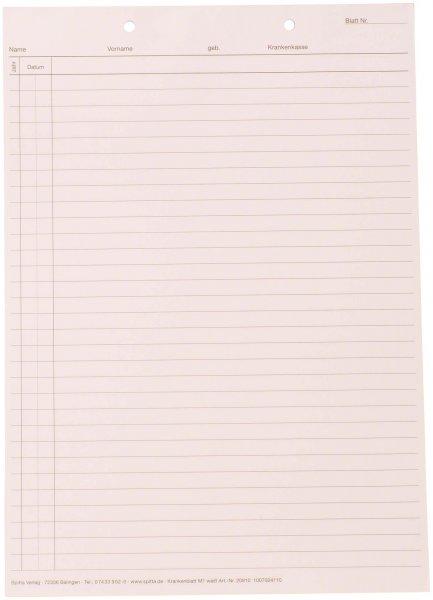 Krankenblatt M1 - Block 100 Blatt weiß, kopfgelocht, A5 von Spitta Verlag