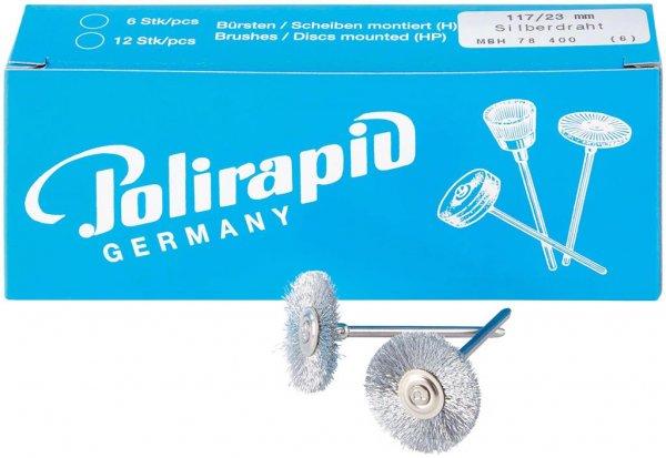 Miniaturbürste - Packung 6 Bürsten, Silberdraht 0,08 mm, Ø 23 mm von Polirapid