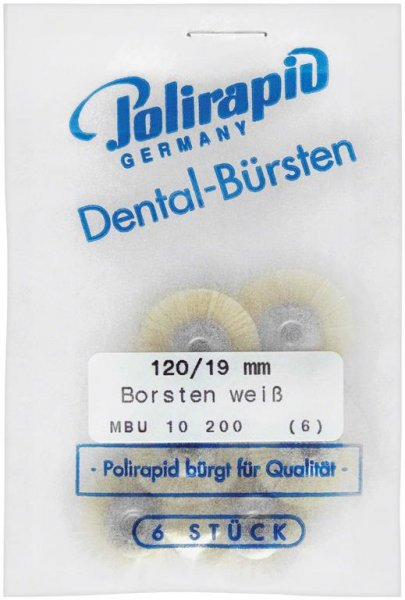 Miniaturbürste - Packung 6 Bürsten, Borste weiß, Ø 19 mm, unmontiert von Polirapid