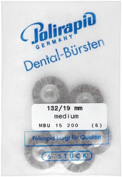 Miniaturbürste - Packung 6 Bürsten, Roßhaar, Ø 19 mm, unmontiert von Polirapid